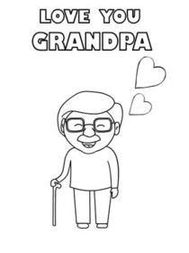 Love You Grandpa - Coloring Card