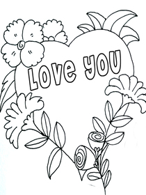 Love You - Coloring Card
