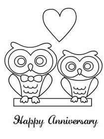 Happy Anniversary - Coloring Card