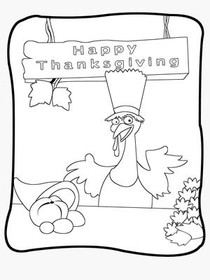 Happy  Thanksgiving - Coloring Card