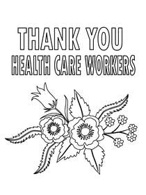Thank You Health Care Workers - Coloring Card