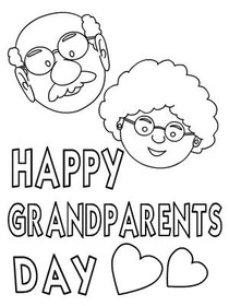 Happy Grandparents Day - Coloring Card