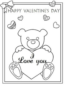 Happy Valentine's Day, I Love You - Coloring Card