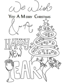 We Wish You a Merry Christmas & a Happy New Year - Coloring Card
