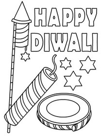 Diwali Coloring Card 1