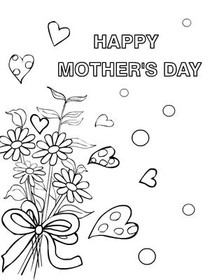 Mothers Day Coloring Card Happy