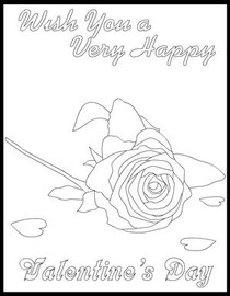 Wish You a Very Happy Valentine's Day - Coloring Card