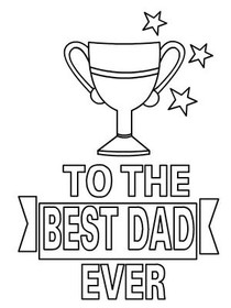 Fathers Day Coloring Card Best DAD