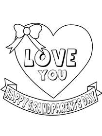 Love You, Happy Grandparents Day - Coloring Card
